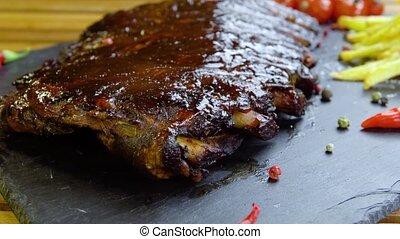 grillé, plaque, pierre, côtes, barbecue