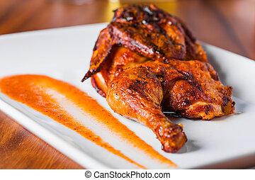 grillé, plaque, poulet