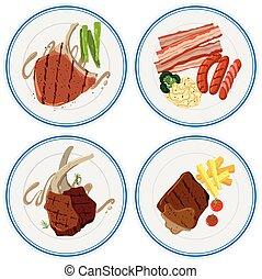 grillé, plaques, différent, viande