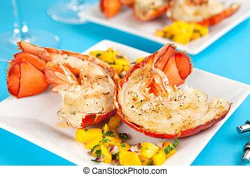 grillé, queues, homard