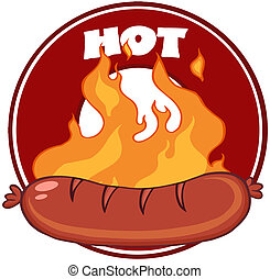 grillé, saucisse, bannière, flammes