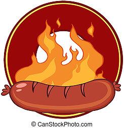 grillé, saucisse, flammes