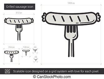 grillé, saucisse, ligne, icon.