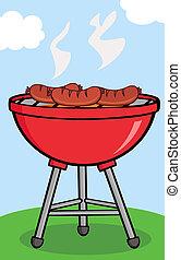 grillé, saucisses, barbecue