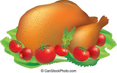 grillé, turquie, tomates
