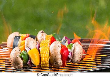 grillé, végétarien, brochettes, feu