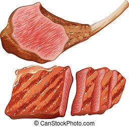 grillé, viande blanche, fond