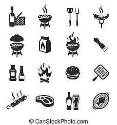 grill, állhatatos, grillsütő, vagy, ikonok