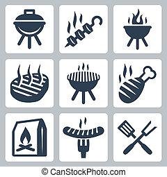 grill, állhatatos, ikonok, kapcsolódó, vektor, barbeque