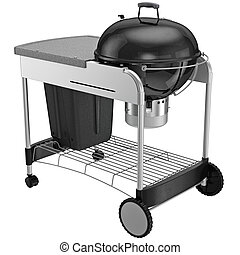 Grill a steel frame on wheels with brakes
