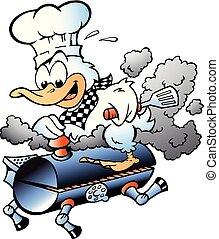 grill, abbildung, küchenchef, vektor, ente, reiten, fass, karikatur, bbq