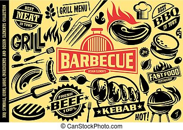 Grill and barbecue symbols, icons, labels, logos and design elements collection. Fast food, burgers, sausages, bbq, meat, beef, steaks graphics vector set.