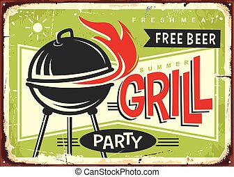Barbecue party retro sign design. - Grill appliance with red...