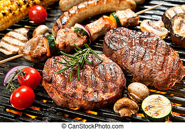 Grill - Assorted delicious grilled meat with vegetable over ...