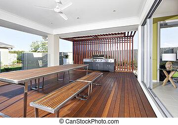 grill, banken, houten, moderne, lang, kabinet, tafel