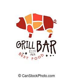 Grill bar best food estd 1969 logo template hand drawn...