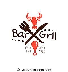 Grill bar, best food estd 1969 logo template hand drawn...