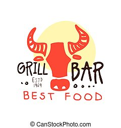 Grill bar, best food logo estd 1969 template hand drawn colorful vector Illustration