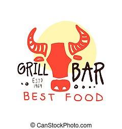 Grill bar, best food logo estd 1969 template hand drawn colorful vector Illustration
