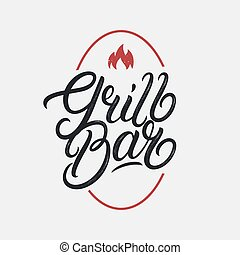 Grill Bar hand written lettering logo