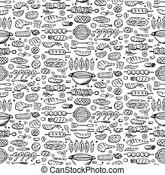 Grill-barbecue doodle set