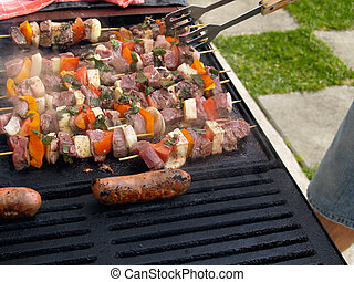 grill, barbecue, mat.
