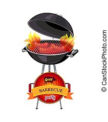 Grill Barbecue Party Brazier Vector Illustration