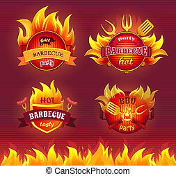 Grill Barbecue Party Hot Set Vector Illustration