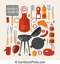 Grill Barbecue Set of Elements. Grilled Food Set with Kitchen Tools