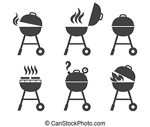 grill, barbeque, ikony