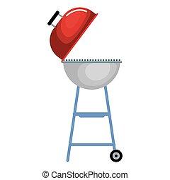 grill, barbeque, odizolowany, ikona