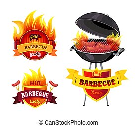 Grill BBQ Barbecue Party Set Vector Illustration
