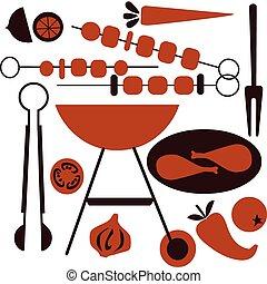 grill, bbq, pictogram, set, picknick