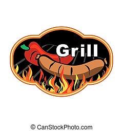 grill, címke, design.