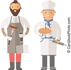 Grill chef and baker two men of character.