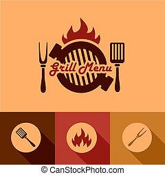 grill, communie, ontwerp, menu