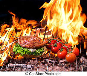Grill concept with flare on background - Grill concept. roll...