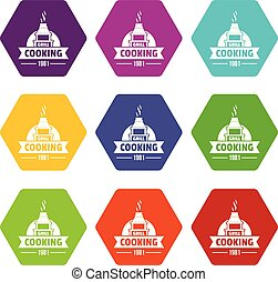 Grill cooking icons set 9 vector