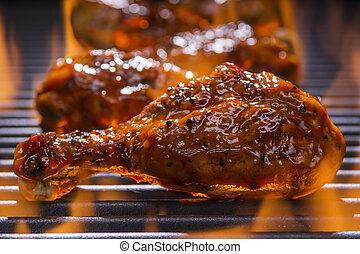 grill, csípős, csirke, grillsütő