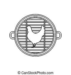 grill, csirke, tervezés, hús, elszigetelt