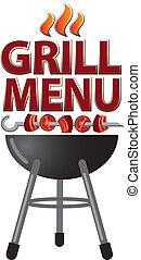 grill, design, kort, meny