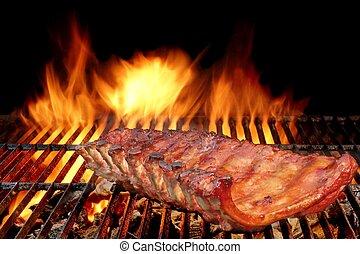 grill, disznóhús, bakhátak, lángoló, hát, csípős, csecsemő, kerti-parti