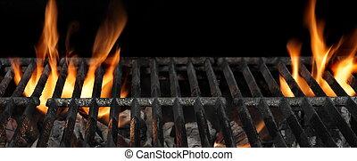 grill, elbocsát, elszigetelt, feláll, háttér, fekete, grillsütő, becsuk