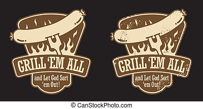 Barbecue Emblem featuring a hot dog on a fork. Includes clean and grunge versions. Editable vector illustration.