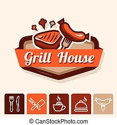 grill, emblemat, dom
