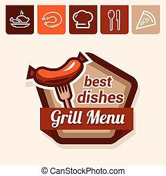 grill, emblemat, menu