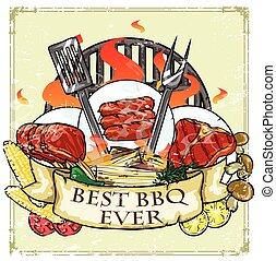 grill, -, etikett, design, bäst, någonsin, barbecue