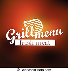 grill, etykieta, lineart, menu, wektor, pojęcie, design.