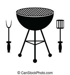 grill, evőeszköz, kerti-parti