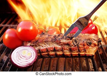 grill, fénylik, bakhátak, brisket, xxxl, grillsütő, faszén